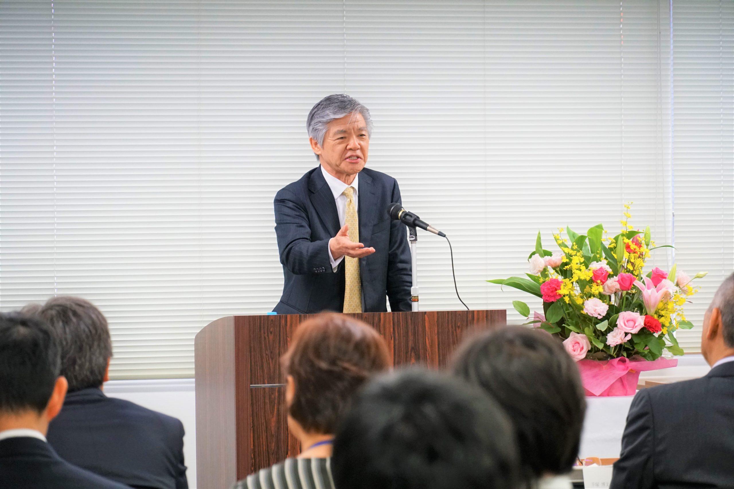 2019年度 創立記念式典での社長挨拶の様子