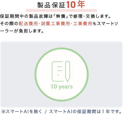 製品保証10年:保証期間中の製品故障は「無償」で修理・交換します。その際の配送費用・設置工事費用・工事費用もスマートソーラーが負担します。※スマートAIを除く/スマートAIの保証期間は1年です。
